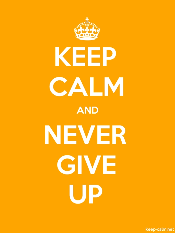 KEEP CALM AND NEVER GIVE UP - white/orange - Default (600x800)