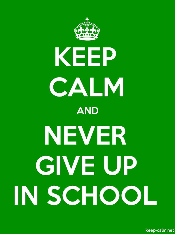 KEEP CALM AND NEVER GIVE UP IN SCHOOL - white/green - Default (600x800)