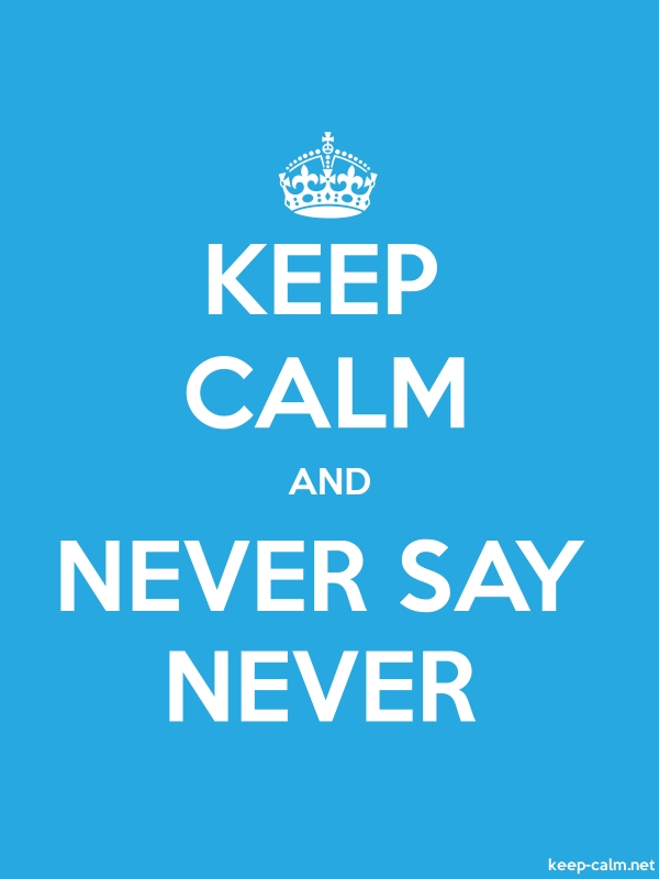 KEEP CALM AND NEVER SAY NEVER - white/blue - Default (600x800)