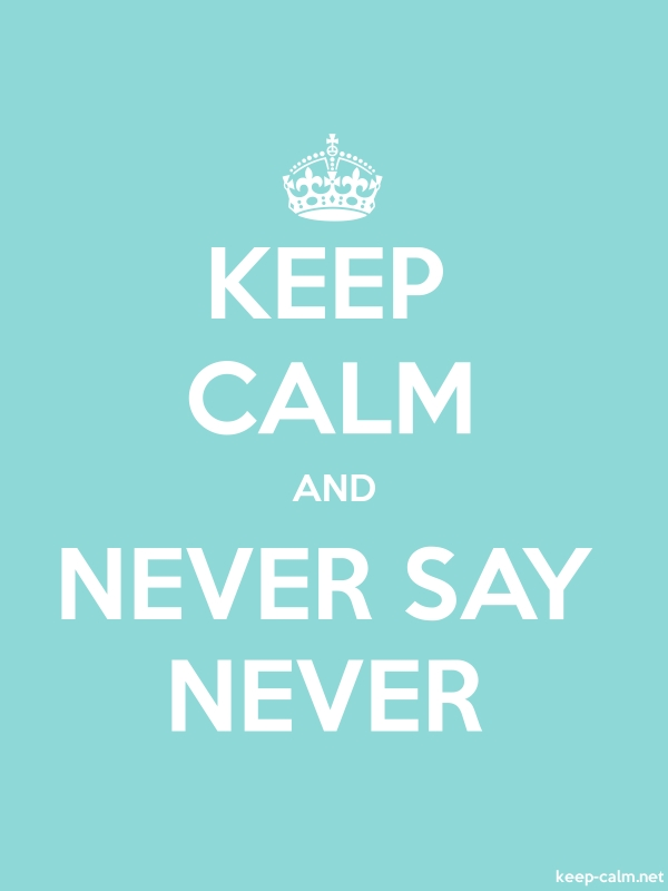 KEEP CALM AND NEVER SAY NEVER - white/lightblue - Default (600x800)