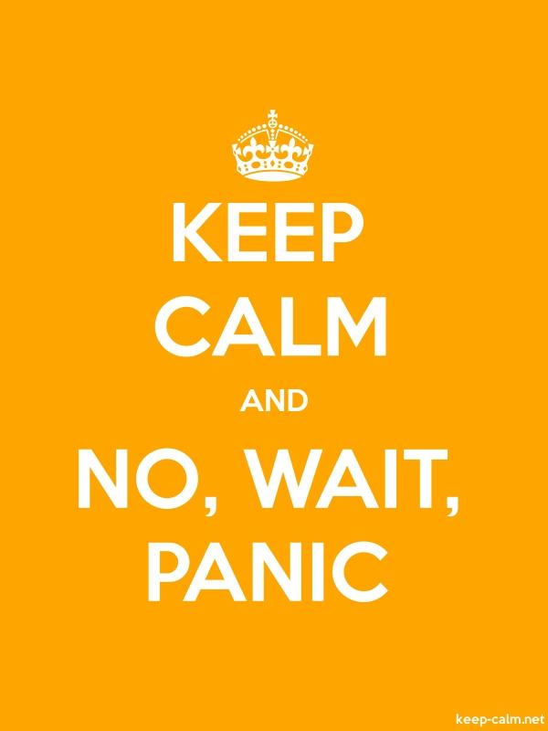 KEEP CALM AND NO, WAIT, PANIC - white/orange - Default (600x800)