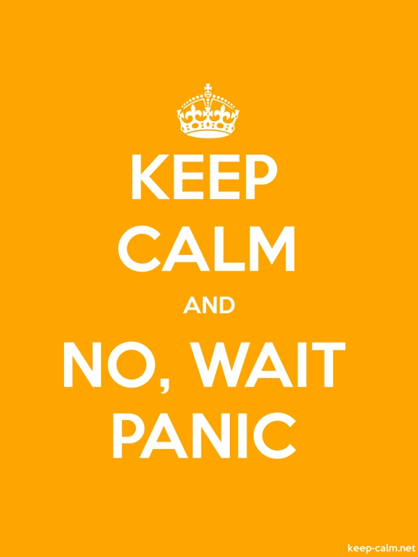 KEEP CALM AND NO, WAIT PANIC - white/orange - Default (600x800)