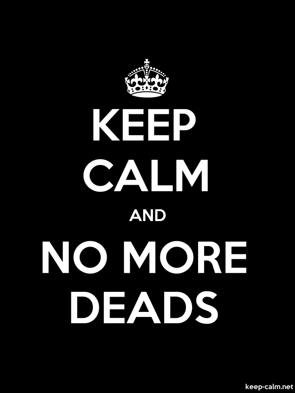 KEEP CALM AND NO MORE DEADS - white/black - Default (600x800)