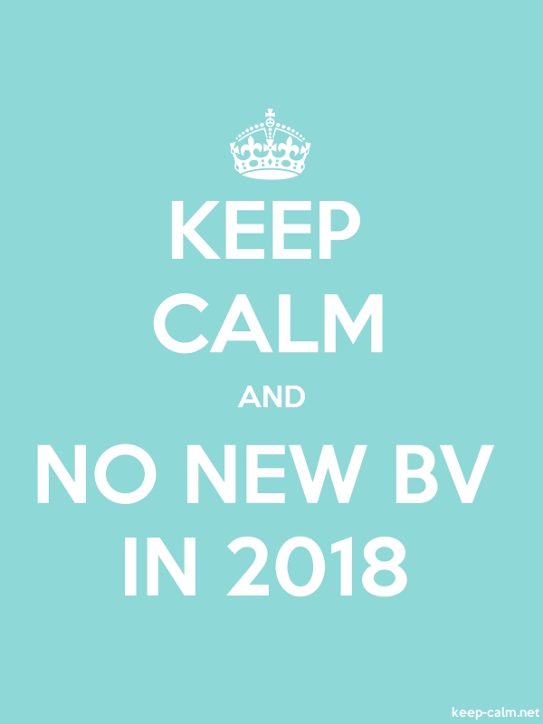 KEEP CALM AND NO NEW BV IN 2018 - white/lightblue - Default (600x800)