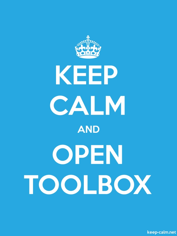KEEP CALM AND OPEN TOOLBOX - white/blue - Default (600x800)