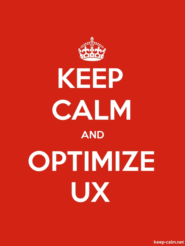 KEEP CALM AND OPTIMIZE UX - white/red - Default (600x800)