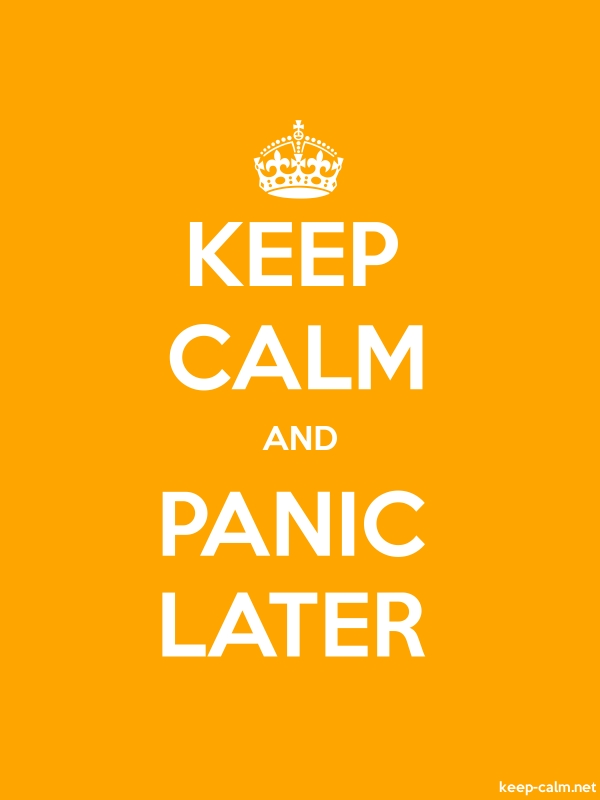 KEEP CALM AND PANIC LATER - white/orange - Default (600x800)