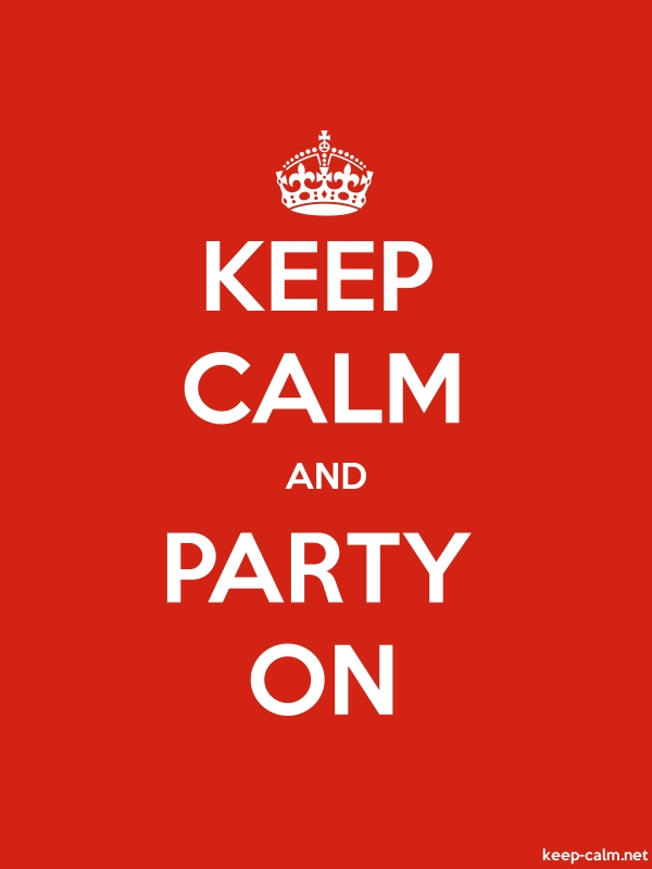 KEEP CALM AND PARTY ON - white/red - Default (600x800)