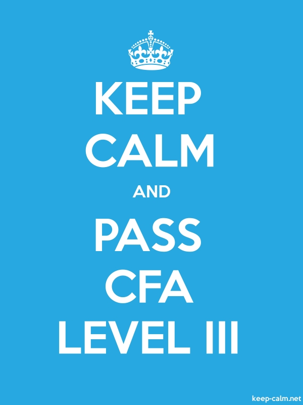 KEEP CALM AND PASS CFA LEVEL III - white/blue - Default (600x800)