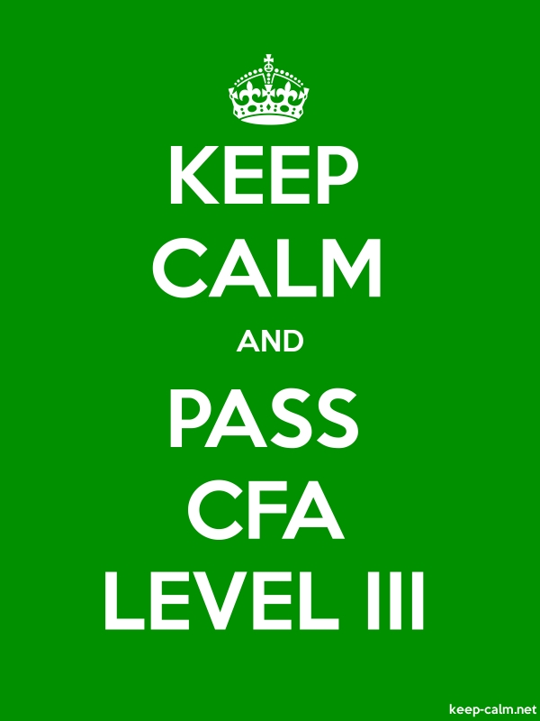 KEEP CALM AND PASS CFA LEVEL III - white/green - Default (600x800)