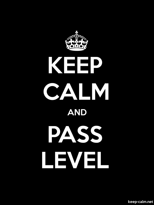 KEEP CALM AND PASS LEVEL - white/black - Default (600x800)
