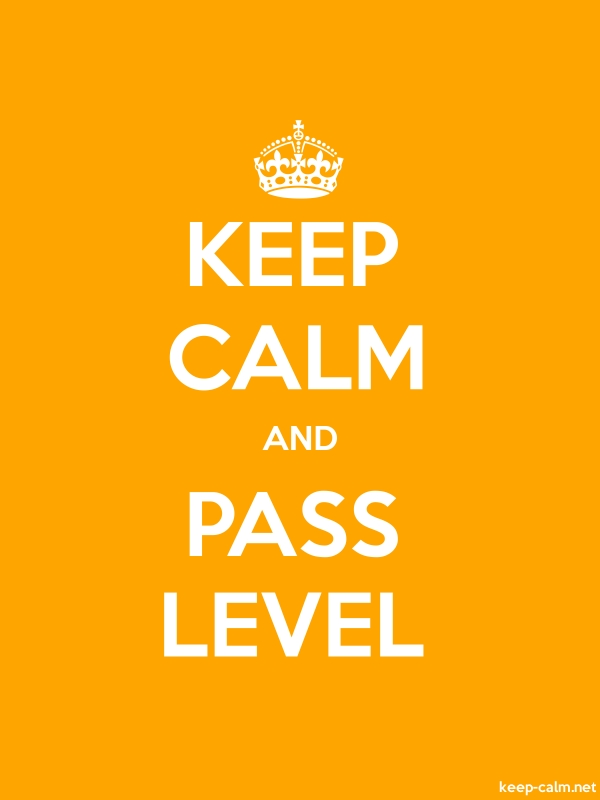 KEEP CALM AND PASS LEVEL - white/orange - Default (600x800)