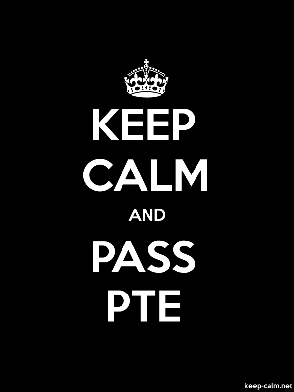 KEEP CALM AND PASS PTE - white/black - Default (600x800)