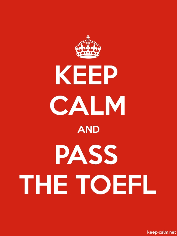 KEEP CALM AND PASS THE TOEFL - white/red - Default (600x800)