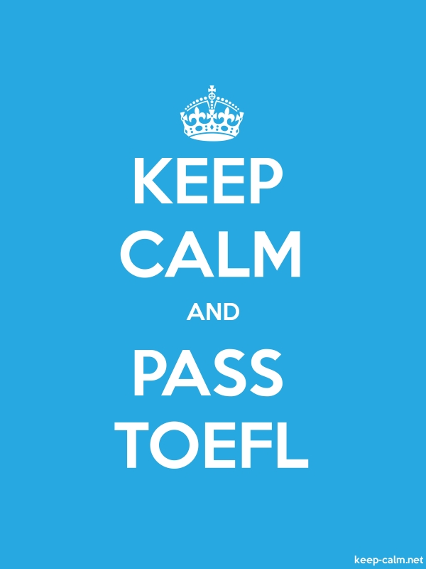 KEEP CALM AND PASS TOEFL - white/blue - Default (600x800)