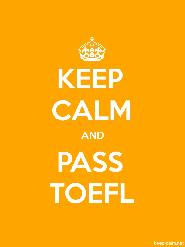 KEEP CALM AND PASS TOEFL - white/orange - Default (600x800)
