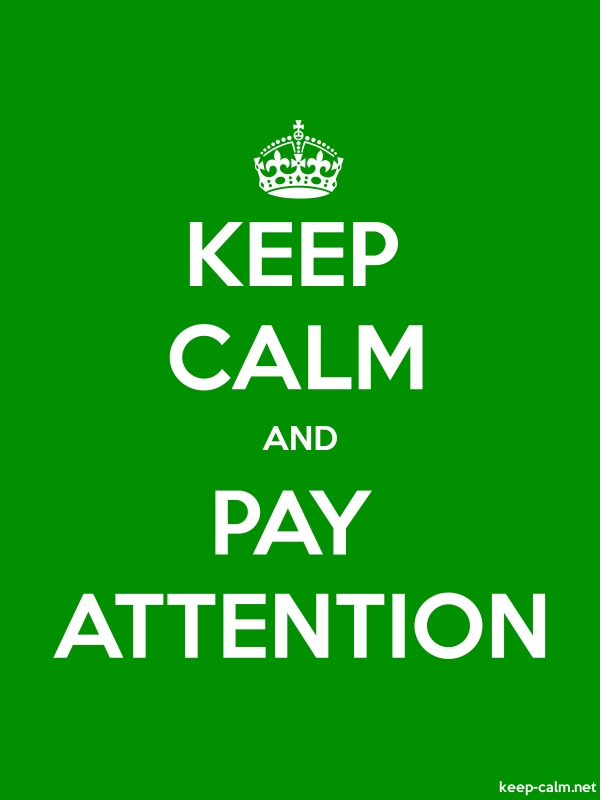 KEEP CALM AND PAY ATTENTION - white/green - Default (600x800)