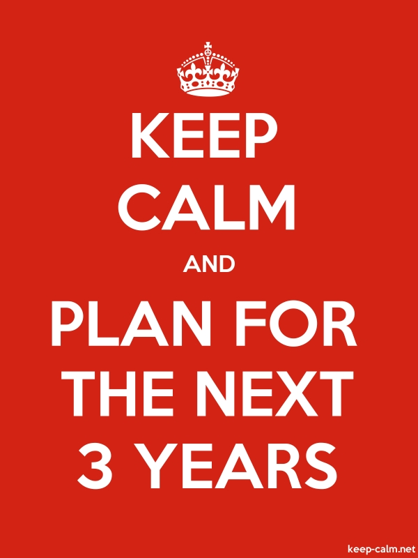 KEEP CALM AND PLAN FOR THE NEXT 3 YEARS - white/red - Default (600x800)