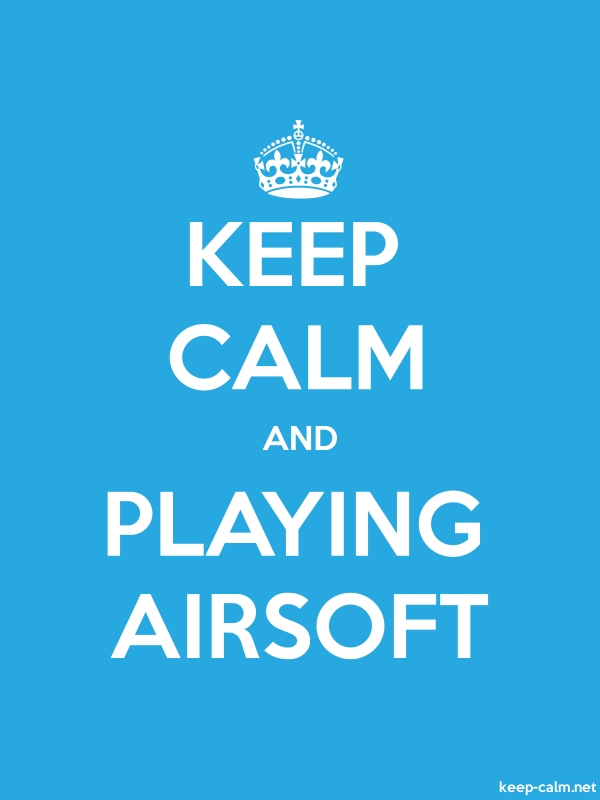 KEEP CALM AND PLAYING AIRSOFT - white/blue - Default (600x800)