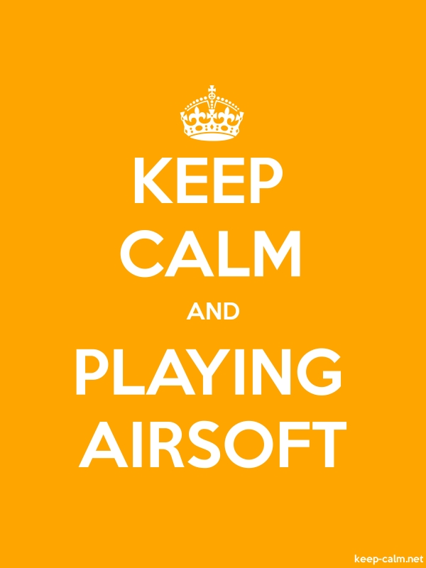 KEEP CALM AND PLAYING AIRSOFT - white/orange - Default (600x800)