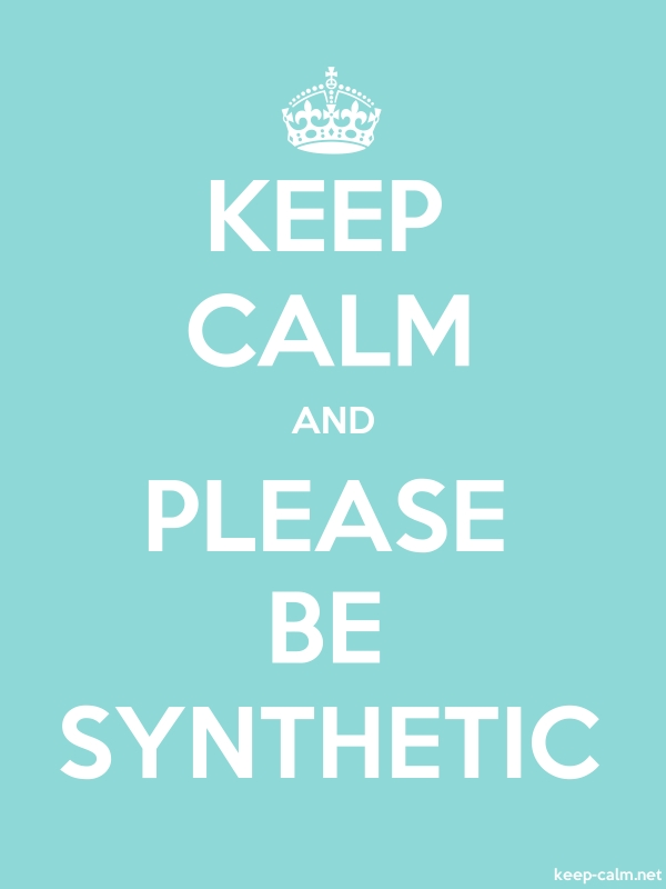 KEEP CALM AND PLEASE BE SYNTHETIC - white/lightblue - Default (600x800)