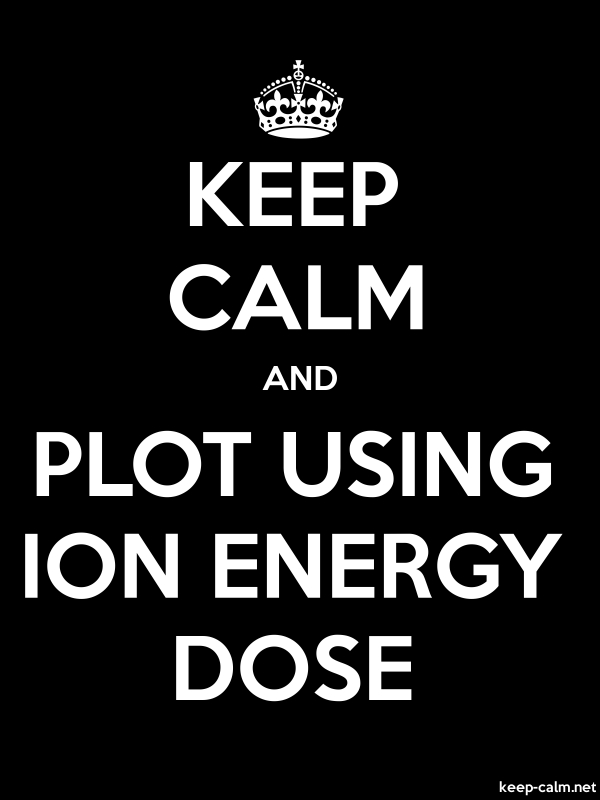 KEEP CALM AND PLOT USING ION ENERGY DOSE - white/black - Default (600x800)