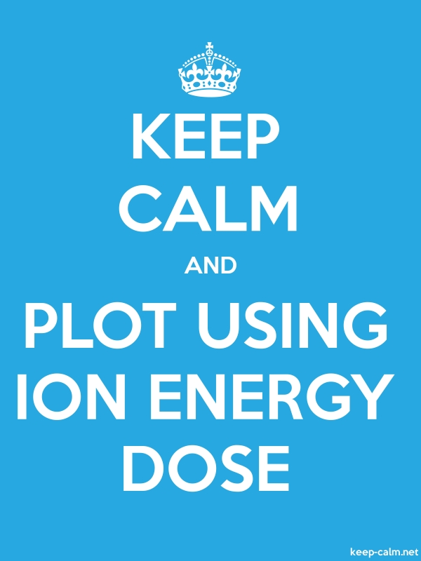 KEEP CALM AND PLOT USING ION ENERGY DOSE - white/blue - Default (600x800)
