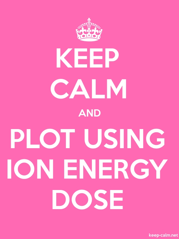 KEEP CALM AND PLOT USING ION ENERGY DOSE - white/pink - Default (600x800)