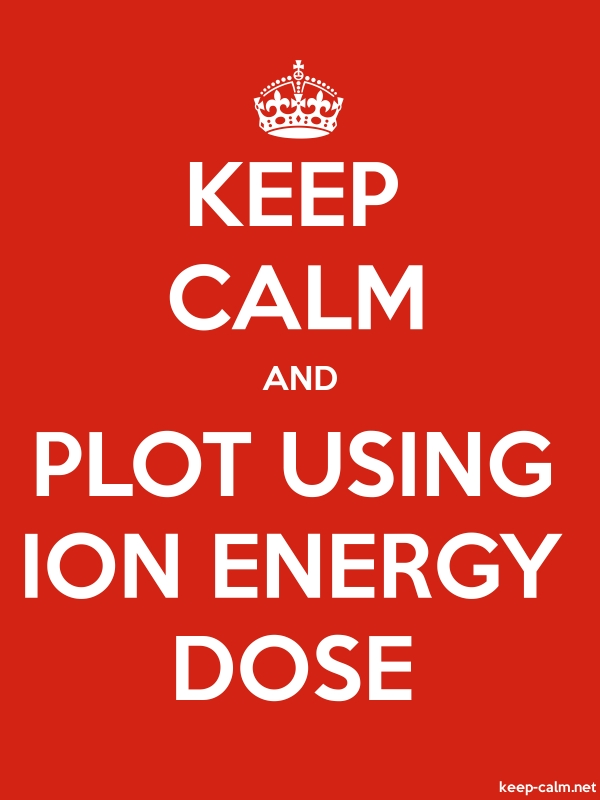 KEEP CALM AND PLOT USING ION ENERGY DOSE - white/red - Default (600x800)