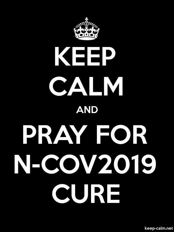 KEEP CALM AND PRAY FOR N-COV2019 CURE - white/black - Default (600x800)