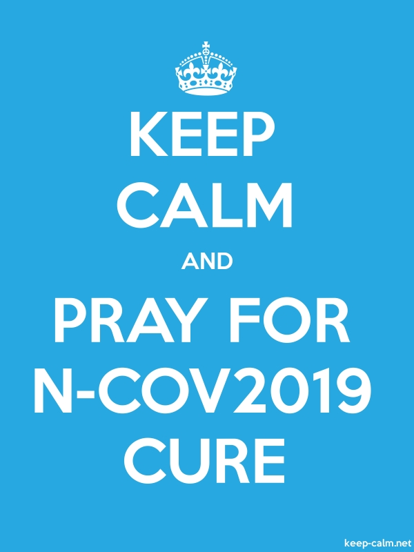 KEEP CALM AND PRAY FOR N-COV2019 CURE - white/blue - Default (600x800)