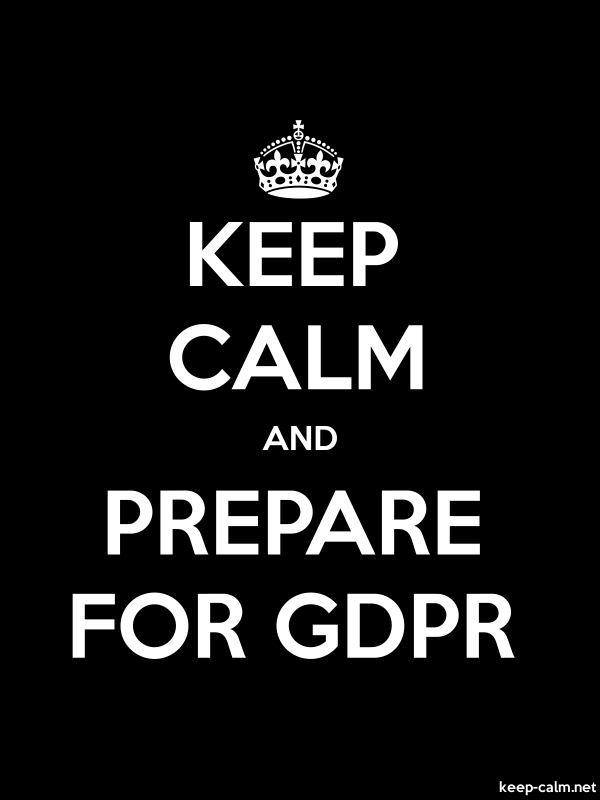 KEEP CALM AND PREPARE FOR GDPR - white/black - Default (600x800)