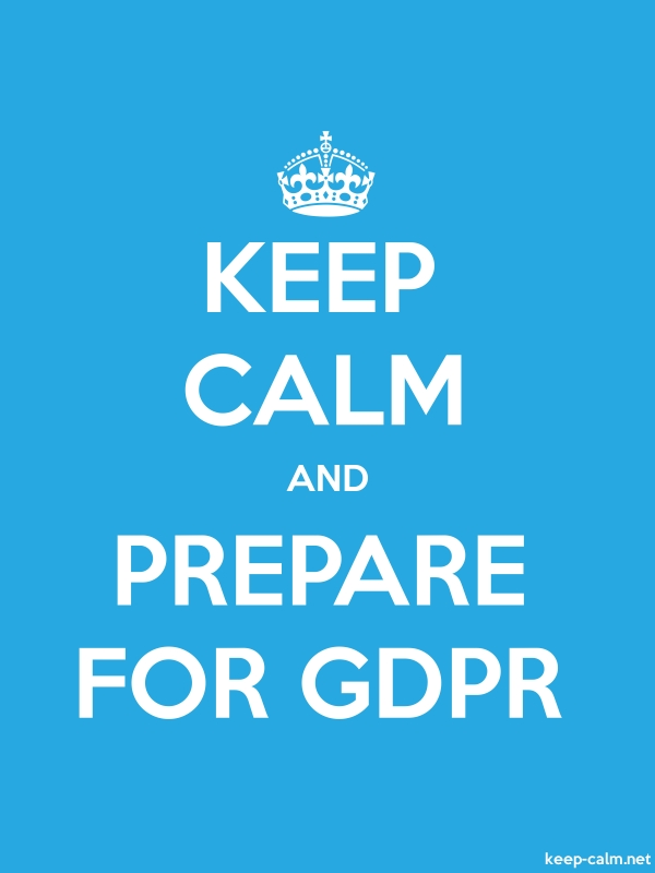 KEEP CALM AND PREPARE FOR GDPR - white/blue - Default (600x800)