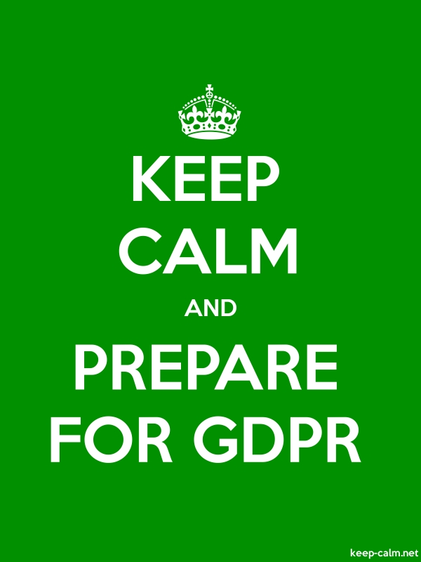 KEEP CALM AND PREPARE FOR GDPR - white/green - Default (600x800)