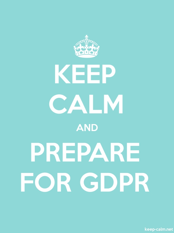 KEEP CALM AND PREPARE FOR GDPR - white/lightblue - Default (600x800)