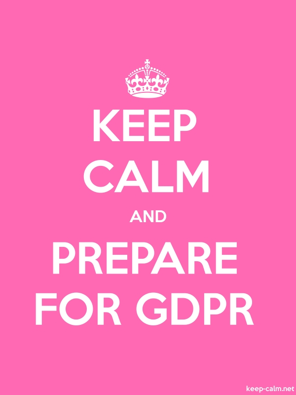 KEEP CALM AND PREPARE FOR GDPR - white/pink - Default (600x800)