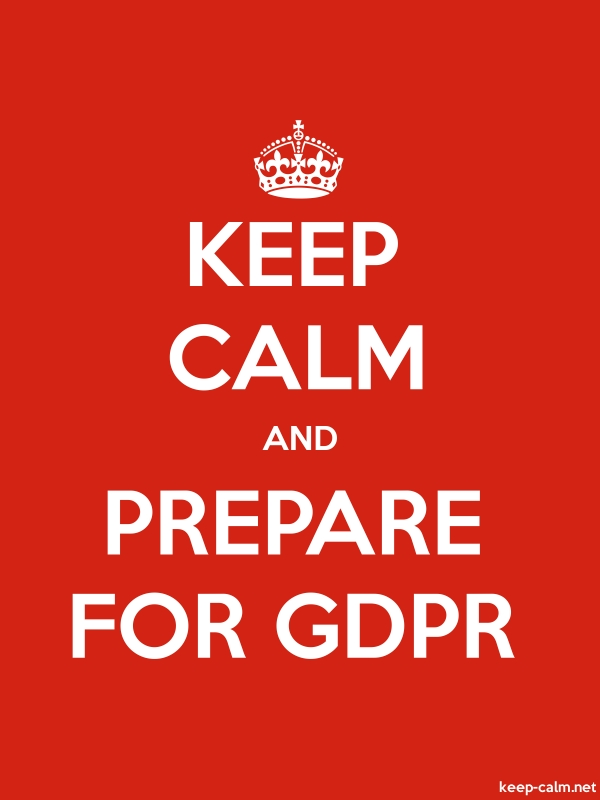 KEEP CALM AND PREPARE FOR GDPR - white/red - Default (600x800)