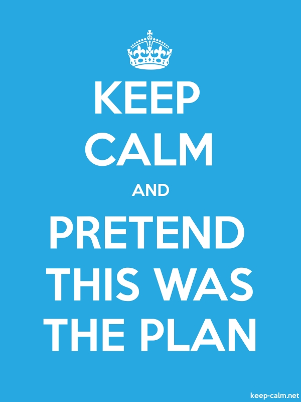KEEP CALM AND PRETEND THIS WAS THE PLAN - white/blue - Default (600x800)