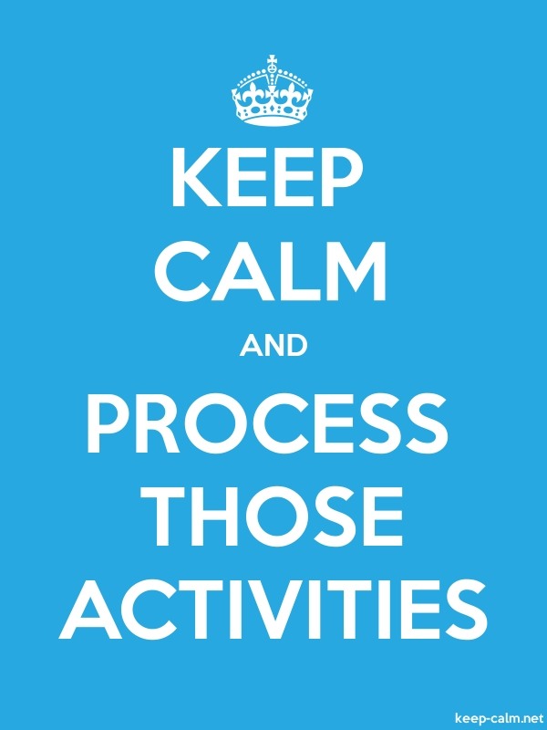 KEEP CALM AND PROCESS THOSE ACTIVITIES - white/blue - Default (600x800)