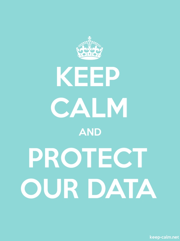 KEEP CALM AND PROTECT OUR DATA - white/lightblue - Default (600x800)