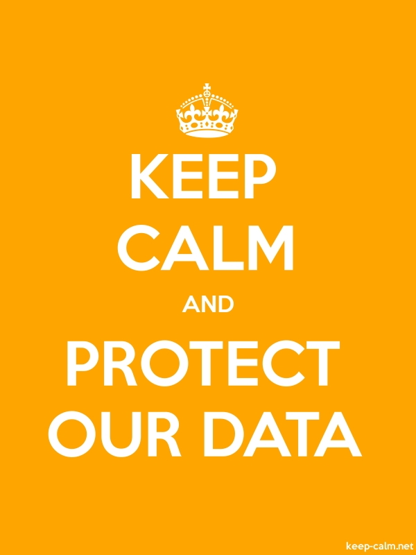 KEEP CALM AND PROTECT OUR DATA - white/orange - Default (600x800)