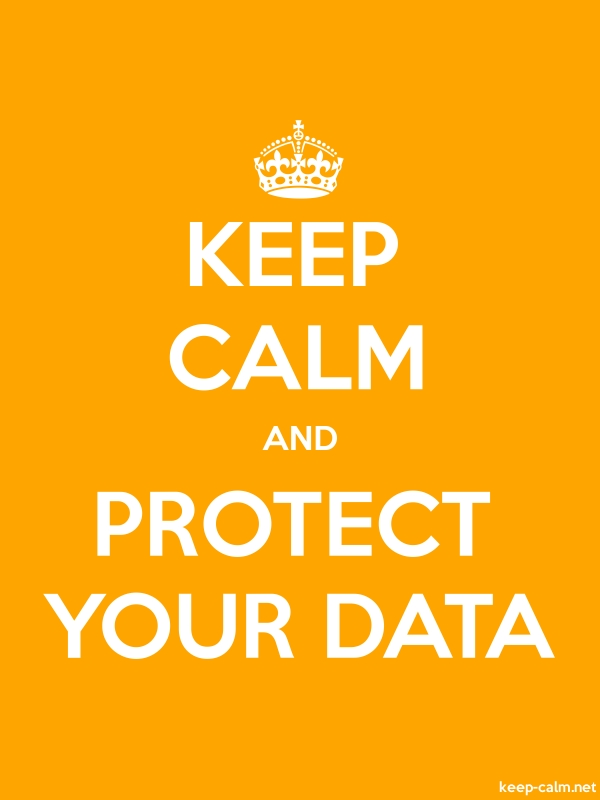 KEEP CALM AND PROTECT YOUR DATA - white/orange - Default (600x800)