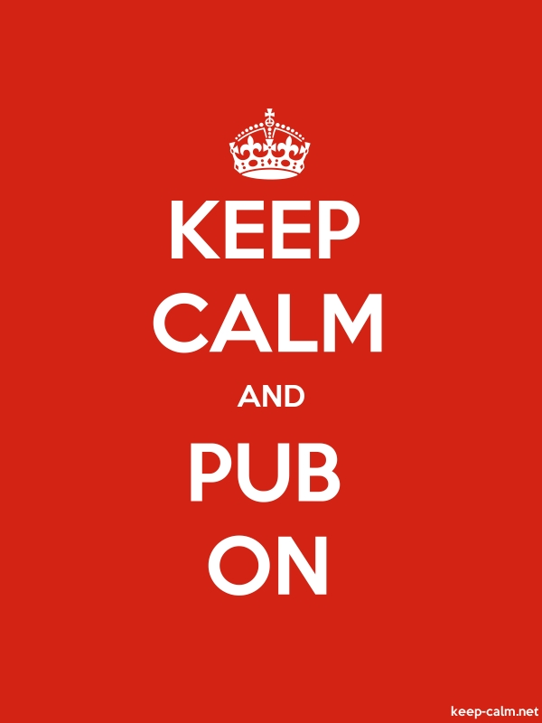 KEEP CALM AND PUB ON - white/red - Default (600x800)