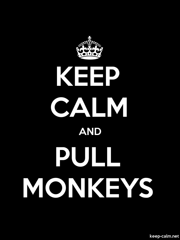 KEEP CALM AND PULL MONKEYS - white/black - Default (600x800)