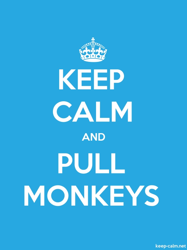 KEEP CALM AND PULL MONKEYS - white/blue - Default (600x800)