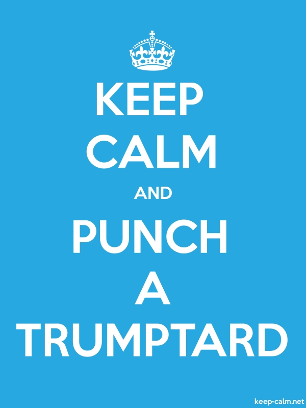 KEEP CALM AND PUNCH A TRUMPTARD - white/blue - Default (600x800)