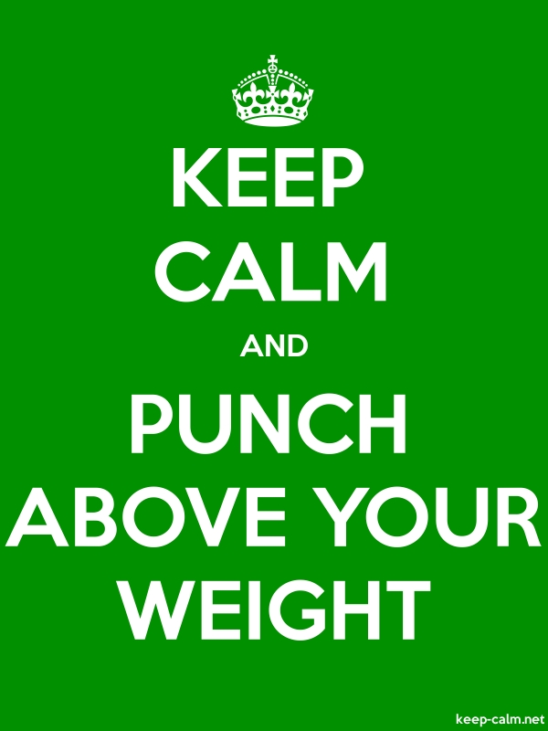 KEEP CALM AND PUNCH ABOVE YOUR WEIGHT - white/green - Default (600x800)