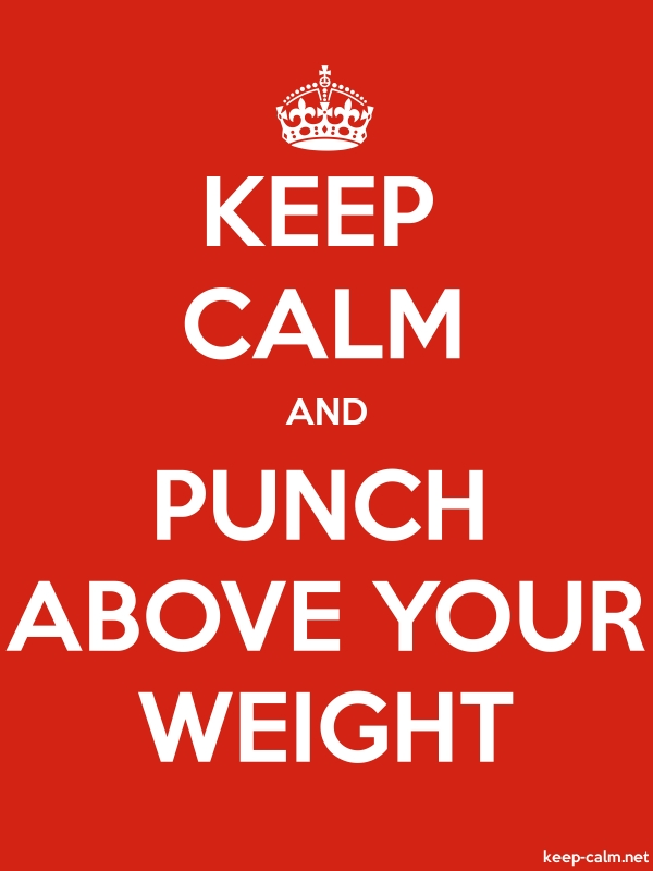 KEEP CALM AND PUNCH ABOVE YOUR WEIGHT - white/red - Default (600x800)