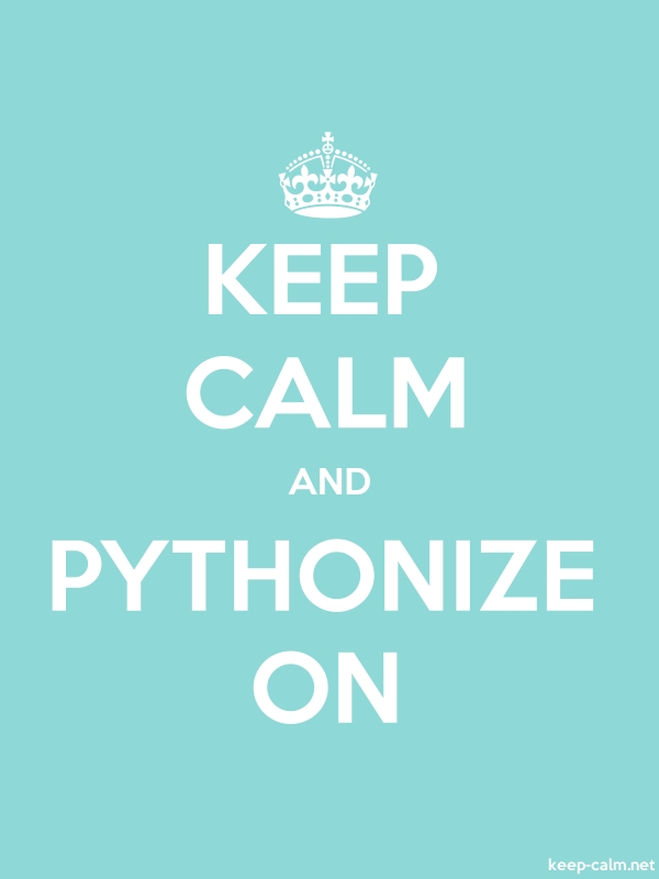KEEP CALM AND PYTHONIZE ON - white/lightblue - Default (600x800)
