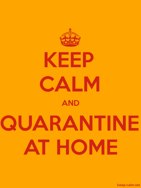 KEEP CALM AND QUARANTINE AT HOME - red/orange - Default (600x800)